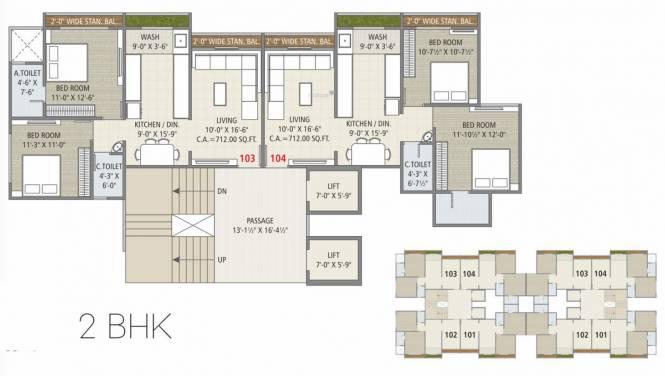 Bhavyaraj Orchid Fantasia (2BHK+2T (674.36 sq ft) Apartment 674.36 sq ft)