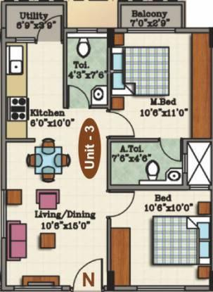 Akshara Phoenix (2BHK+2T (854 sq ft) Apartment 854 sq ft)