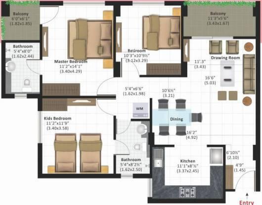 Ashiana Daksh Phase II (3BHK+2T (911.7 sq ft) Apartment 911.7 sq ft)