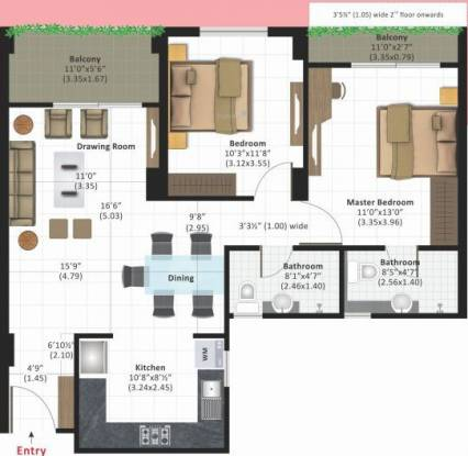 Ashiana Daksh Phase II (2BHK+2T (725.06 sq ft) Apartment 725.06 sq ft)