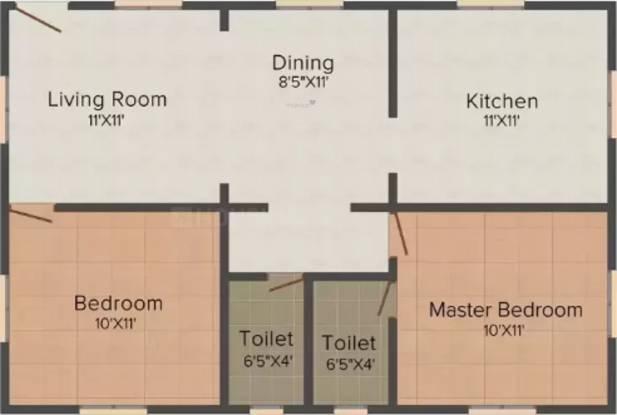 Rama Nagappa Avenue (2BHK+2T (753 sq ft) Apartment 753 sq ft)