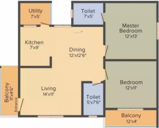 Shirdi Sai Concord Heights (2BHK+2T (1,179 sq ft) Apartment 1179 sq ft)