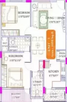 Reputed Chowdeshwari Residency (2BHK+2T (1,050 sq ft) Apartment 1050 sq ft)