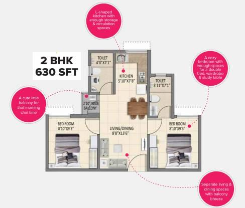 Shriram 7 RKS (2BHK+2T (630 sq ft) Apartment 630 sq ft)