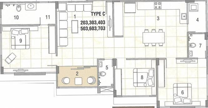 Shivprath Ananta Heights (3BHK+3T (1,316.96 sq ft) Apartment 1316.96 sq ft)