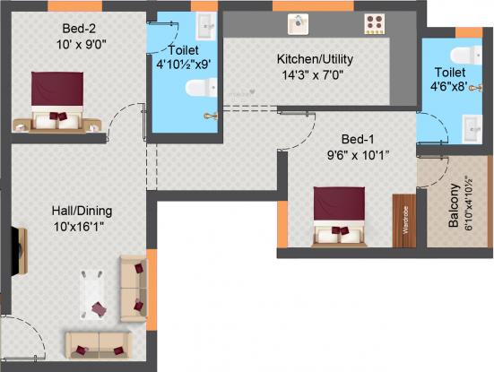 Sree Daksha Arcis (2BHK+2T (894.37 sq ft) Apartment 894.37 sq ft)