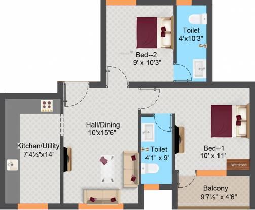 Sree Daksha Arcis (2BHK+2T (880.7 sq ft) Apartment 880.7 sq ft)