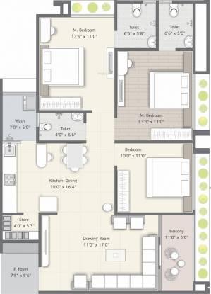 Ramdev Devasya Gold (3BHK+3T (1,016.33 sq ft) Apartment 1016.33 sq ft)
