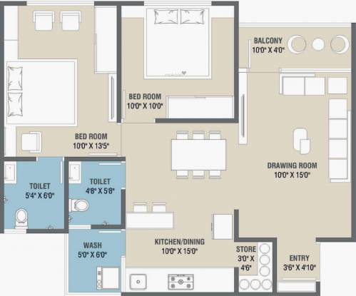 Uma Saral Heights (2BHK+2T (651.39 sq ft) Apartment 651.39 sq ft)