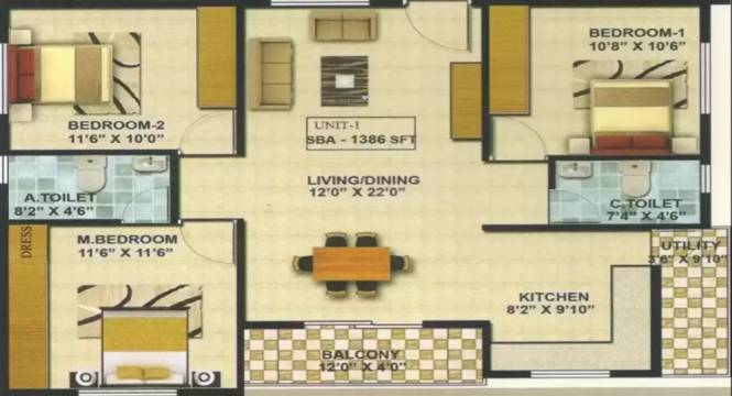 A Knight Melody (3BHK+2T (1,386 sq ft) Apartment 1386 sq ft)