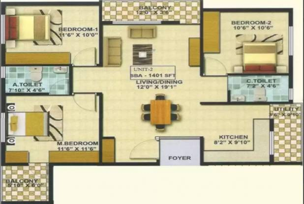 A Knight Melody (3BHK+2T (1,401 sq ft) Apartment 1401 sq ft)