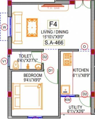 Rishi Sri Archana Flats (1BHK+1T (466 sq ft) Apartment 466 sq ft)