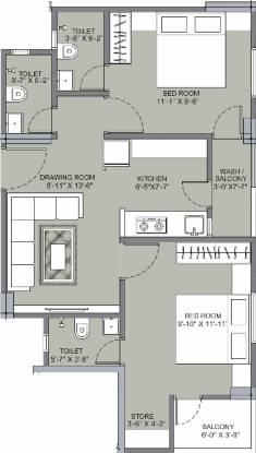 Om Shanti Gold Plus 2 (2BHK+2T (419 sq ft) Apartment 419 sq ft)