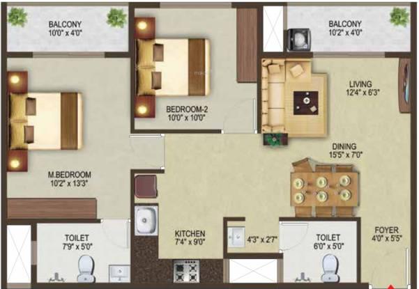 Sowparnika Pragati (2BHK+2T (1,100 sq ft) Apartment 1100 sq ft)