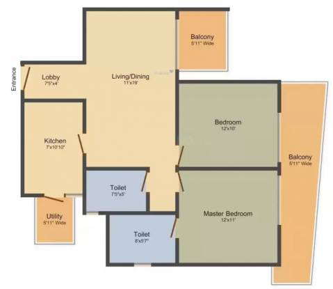 M3M Merlin Iconic Tower (2BHK+2T (1,304 sq ft) Apartment 1304 sq ft)