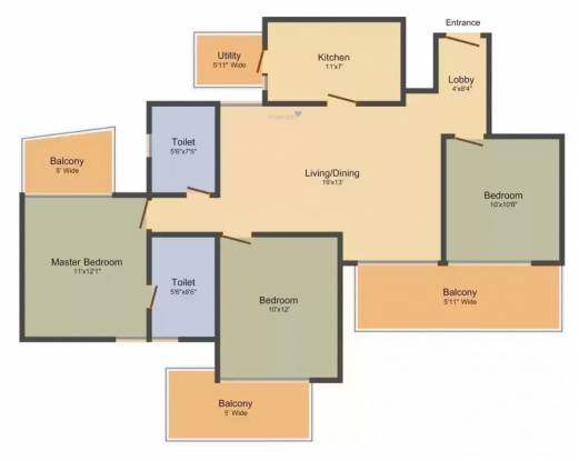 M3M Merlin Iconic Tower (3BHK+3T (1,595 sq ft) Apartment 1595 sq ft)