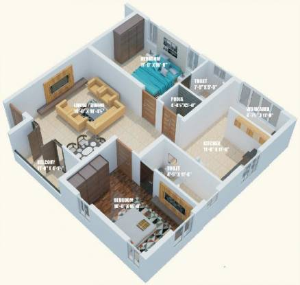 Dhiya Dhiyas Kottaram (2BHK+2T (1,310 sq ft) + Pooja Room Apartment 1310 sq ft)