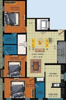 Dhiya Dhiyas Kottaram (3BHK+3T (1,616 sq ft) + Pooja Room Apartment 1616 sq ft)