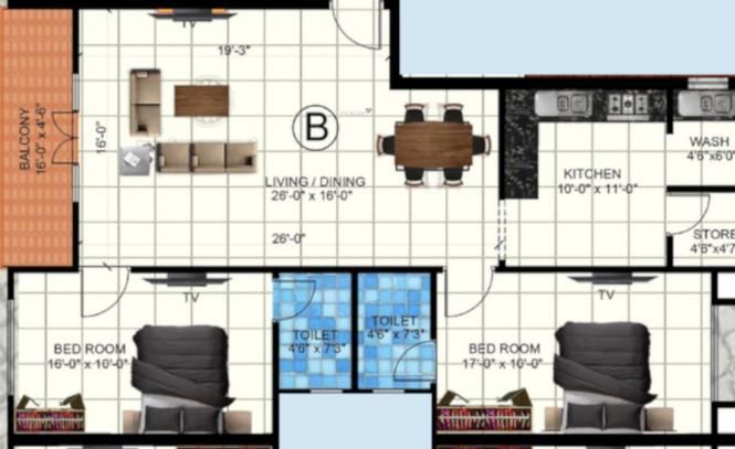 Dhiya Dhiyas Sai Soundaryam (2BHK+2T (1,310 sq ft) Apartment 1310 sq ft)