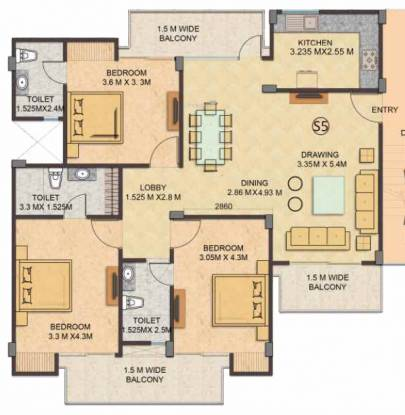 Gaursons 16th Park View Independent Floors (3BHK+3T (1,620.18 sq ft) Apartment 1620.18 sq ft)