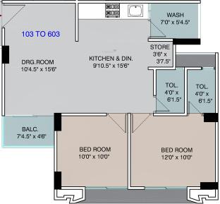 Suvarna Developers Residency (2BHK+2T (623.02 sq ft) Apartment 623.02 sq ft)