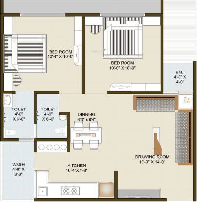 Dhruva Radhey Infinity (2BHK+2T (537.87 sq ft) Apartment 537.87 sq ft)