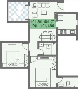 Nirman Aura Wing A (2BHK+2T (461.34 sq ft) Apartment 461.34 sq ft)