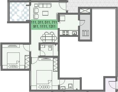 Nirman Aura Wing A (2BHK+2T (487.50 sq ft) Apartment 487.5 sq ft)