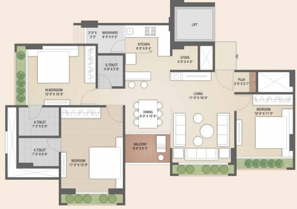Bansidhar Jaldeep Florence (3BHK+3T (905.03 sq ft) Apartment 905.03 sq ft)