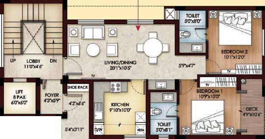 Sreerosh Vatsalya (2BHK+2T (1,000 sq ft) Apartment 1000 sq ft)