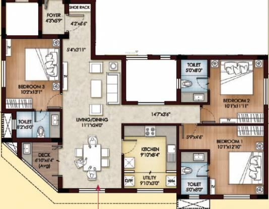 Sreerosh Vatsalya (3BHK+3T (1,545 sq ft) Apartment 1545 sq ft)