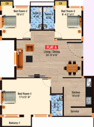 Rajni Castle (3BHK+3T (1,476 sq ft) Apartment 1476 sq ft)
