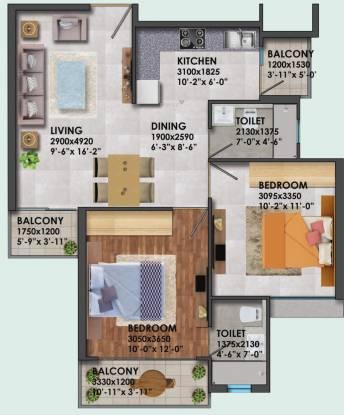 Signature Proxima 1 (2BHK+2T (581.39 sq ft) Apartment 581.39 sq ft)