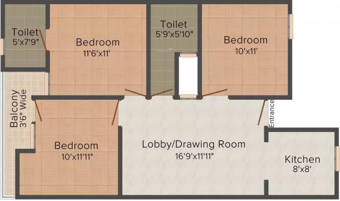 S Gambhir Homes II (3BHK+3T (900 sq ft) Apartment 900 sq ft)