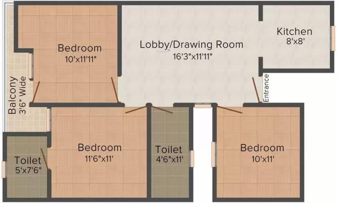 S Gambhir Homes II (3BHK+3T (900. sq ft) Apartment 900 sq ft)