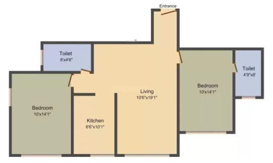 K Raheja Palm Project E (2BHK+2T (1,130 sq ft) Apartment 1130 sq ft)