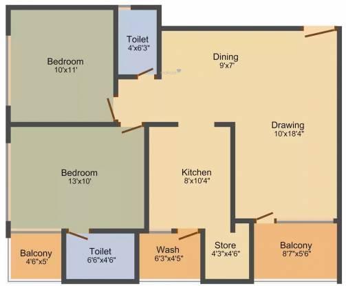 Rang Seattle Park (2BHK+2T (1,413 sq ft) Apartment 1413 sq ft)