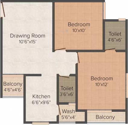 Ashraya Garden Paradise (2BHK+2T (1,053 sq ft) Apartment 1053 sq ft)