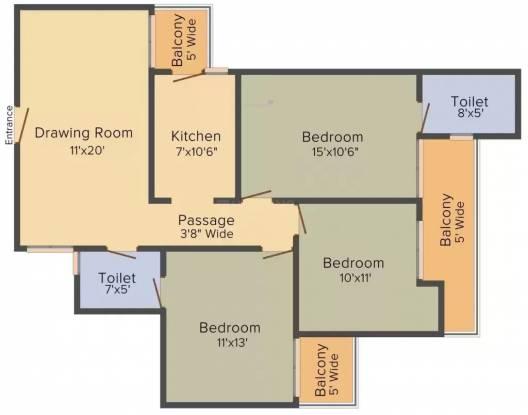 Shalviya La Royale Corel And Pearl (3BHK+3T (1,475 sq ft) Apartment 1475 sq ft)