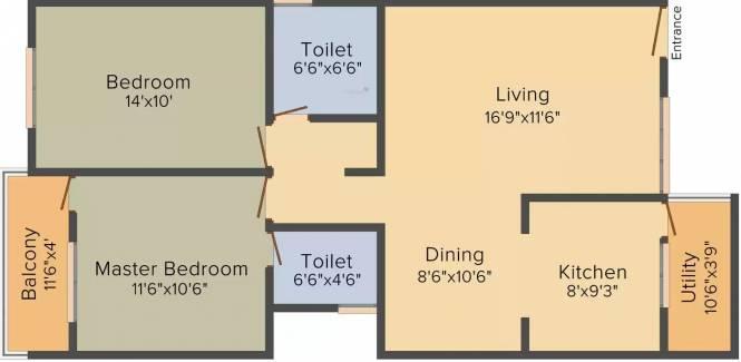 SLV Prinss (2BHK+2T (1,125 sq ft) Apartment 1125 sq ft)
