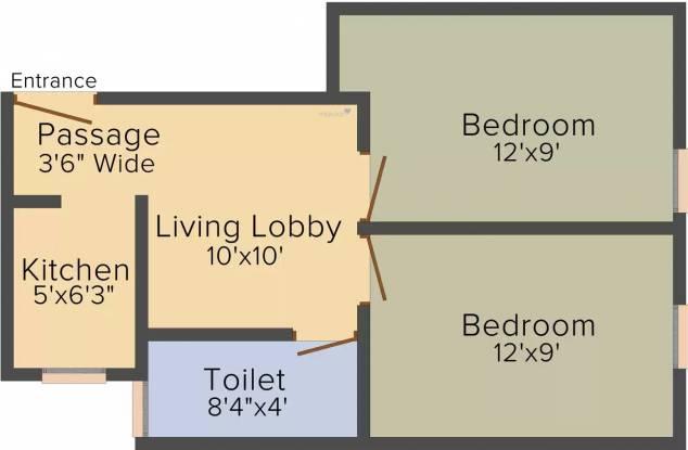R J Homes (2BHK+2T (460.05 sq ft) Apartment 460.05 sq ft)