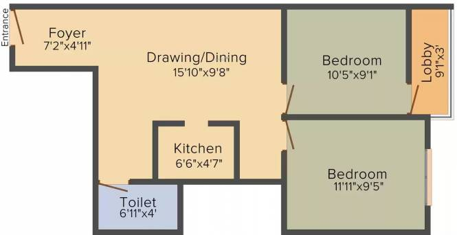 Rajasthali Anupama (2BHK+2T (714 sq ft) Apartment 714 sq ft)