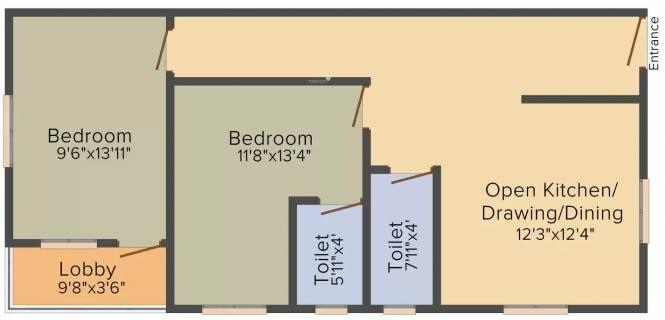 Rajasthali Anupama (2BHK+2T (756 sq ft) Apartment 756 sq ft)