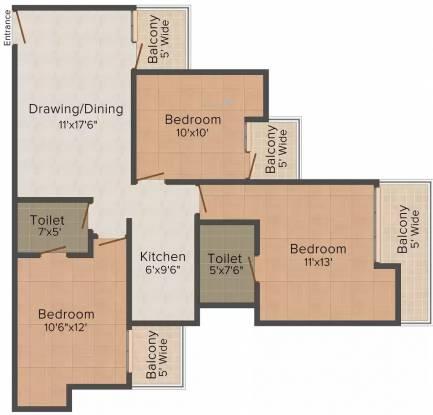 United 2470 Sec 46 (3BHK+2T (1,100 sq ft) Apartment 1100 sq ft)