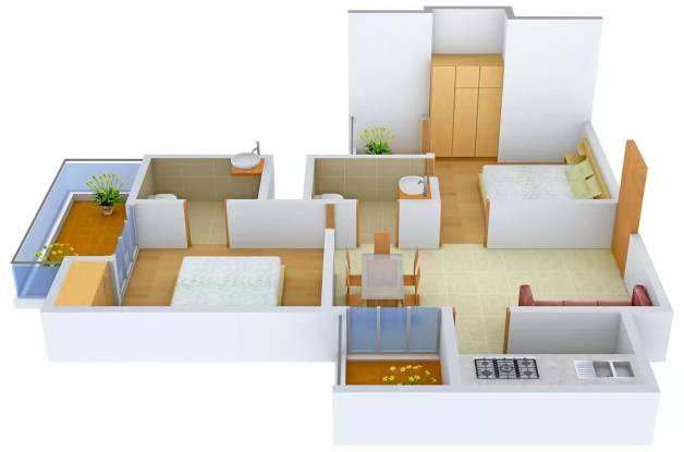 Supertech Ecovillage (2BHK+2T (890 sq ft) Apartment 890 sq ft)