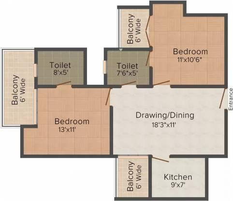 Supertech Ecovillage (2BHK+2T (1,106 sq ft) Apartment 1106 sq ft)