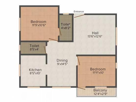 PMR Sree Sai (2BHK+2T (1,056 sq ft) Apartment 1056 sq ft)