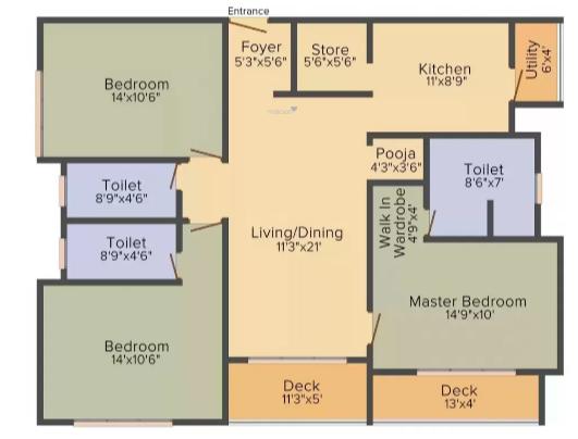 Lodha Meridian Super 60 (3BHK+3T (1,824 sq ft) Apartment 1824 sq ft)