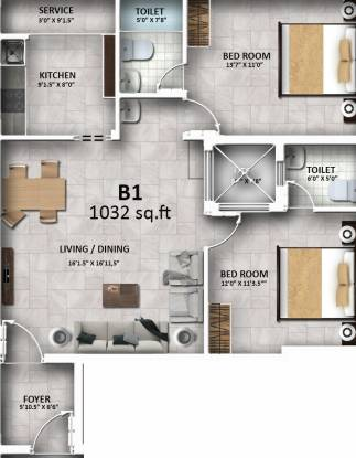 Sreenivas Sairam Garden (2BHK+2T (1,032 sq ft) Apartment 1032 sq ft)