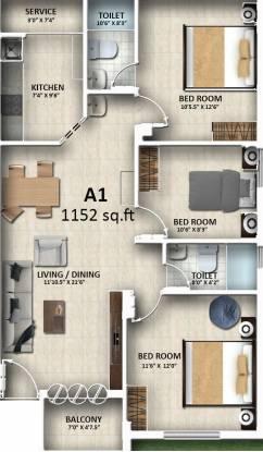 Sreenivas Sairam Garden (3BHK+3T (1,152 sq ft) Apartment 1152 sq ft)